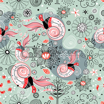 Flower texture with birds in love