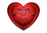 Convex red heart with silver pattern