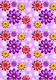 Gentle purple seamless background with flowers