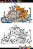 cats cartoon illustration for coloring book