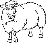 farm sheep cartoon for coloring book