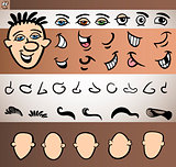 man face elements set cartoon illustration