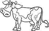 farm cow cartoon for coloring book