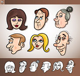 cartoon people heads set illustration