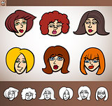 cartoon women heads set illustration