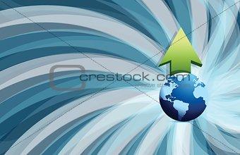 Abstract blue background globe profits, wave