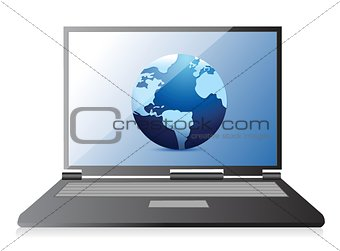 Modern laptop with world wide web