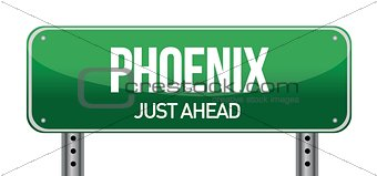 Phoenix Road Sign illustration design