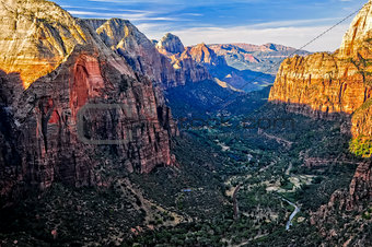 Landscape view of canyon from Angels Landing in Zion National pa