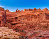 Delicate arch landscape distance view, Arches national park, Uta