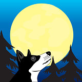 Dog wails on moon