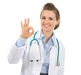 Medical doctor woman showing ok gesture