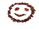 composition of coffee beans in the form of a smiley 