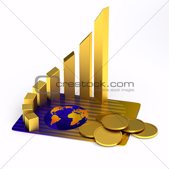 card, gold chart, coins