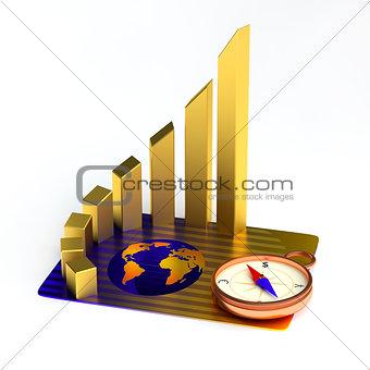 Card, gold chart, compass