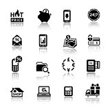 Shopping Icons black with reflection