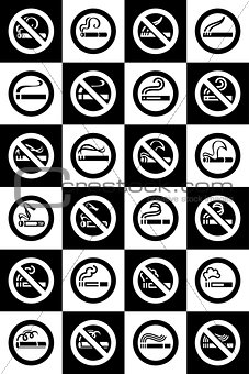 No smoking and Smoking area labels - Big set