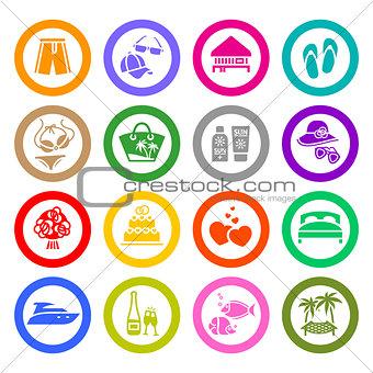 Vacation, Travel & Recreation, icons set