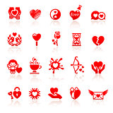 Set valentine&#39;s day red icons, love romantic symbols