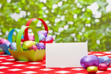 Easter eggs with place card and baskets