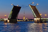 Peter and Paul Fortress and open Palace Bridge