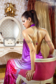 woman in room of luxury hotel
