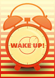 Orange Alarm Clock with text: Wake up!