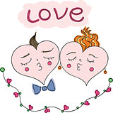 happy couple of hearts.