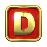 Gold Letter on Red Background.