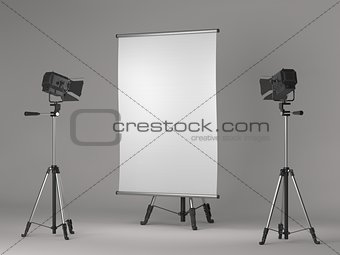 Square Flipchart on Grey Background.