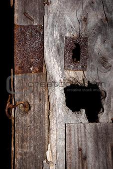 Old wooden rustic door.