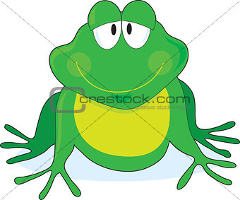 A simple outline of a smiling frog with large eyes, painted green and yellow.