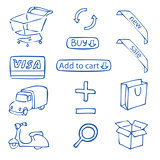 a set of hand-drawn icons for online shop