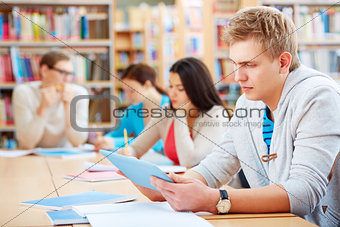 Student with touchpad
