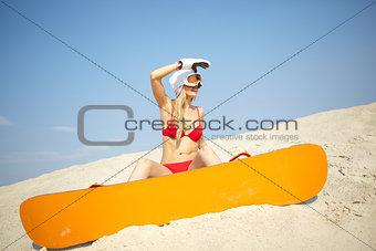 Beach sportswoman