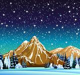 Winter night landscape with starry sky
