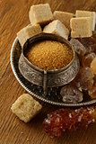 different types of brown sugar (refined, crystals, sand)