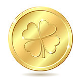 Golden coin with four leaf clover. St. Patrick&#39;s day symbol.