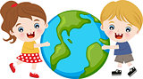 children hug earth