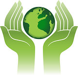 earth protected by hands abstract sign