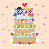 owls couple and wedding cake