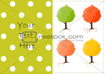 Autumn trees vector card