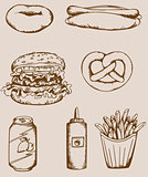 Fastfood vintage icons