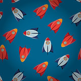 Space toy rocket abstract seamless vector pattern