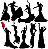 Flamenco or Salsa vector silhouettes