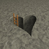 heart-shaped hole and ladder