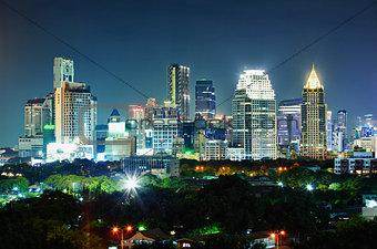 City at night. Thailand, Bangkok, the center.