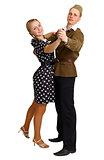 Pair in old-fashioned clothes dancing isolated on white