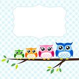 owl family at tree spring illustration
