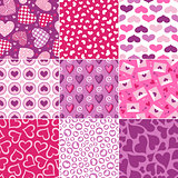 seamless heart fabric pattern set